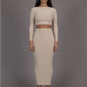 XIIC-Longsleeve-two-piece-dress-nude-beige-maxi-jurk